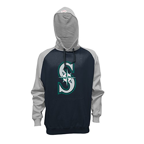 MLB Seattle Mariners Men's Pullover Hoodie, Small, Navy/Gray