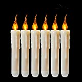 Cozeyat 6pcs AA Battery Operated Yellow Flameless Taper Candles, Flickering LED Taper Candles for Candelabra, Sconces, Chandelier, Menorah (Battery not Included)
