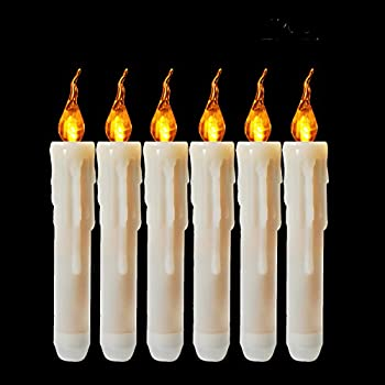 Cozeyat 6pcs AA Battery Operated Yellow Flameless Taper Candles, Flickering LED Taper Candles for Candelabra, Sconces, Chandelier, Menorah ( battery not included )