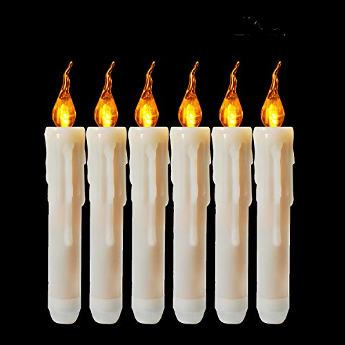 Candles Taper Flameless (Cozeyat 6pcs AA Battery Operated Yellow Flameless Taper Candles, Flickering LED Taper Candles for Candelabra, Sconces, Chandelier, Menorah (Battery not Included))
