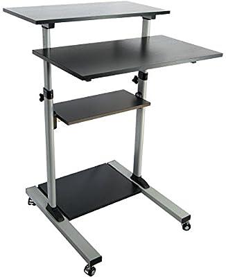 VIVO Mobile Height Adjustable Stand Up Desk with Storage / Computer Work Station Rolling Presentation Cart (CART-V02D)