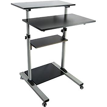 vivo mobile height adjustable stand up desk with storage computer work station. Black Bedroom Furniture Sets. Home Design Ideas