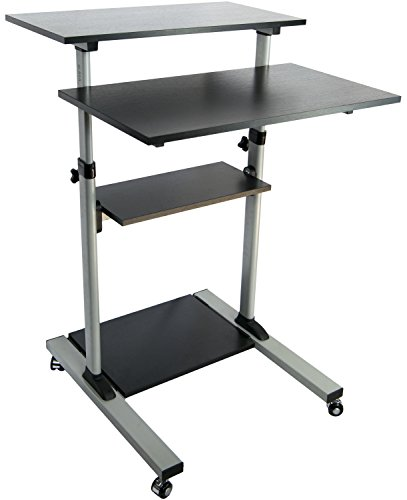 VIVO Mobile Height Adjustable Table, Stand Up Desk with Storage, Computer Workstation Rolling Presentation Cart (CART-V02D)