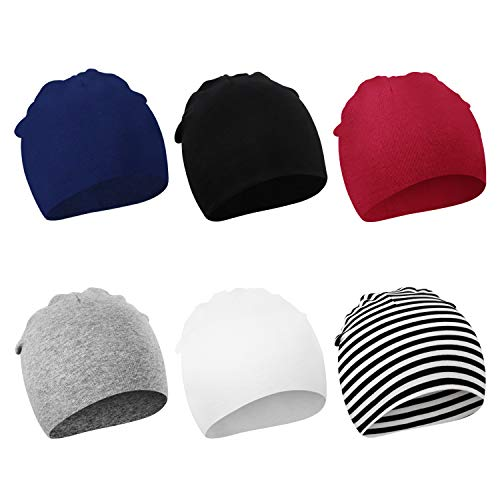 DRESHOW BQUBO 6 Pack Unisex Baby Beanie Hat Infant Baby Soft Cute Knit Cap Nursery Beanie, 0-6 Month
