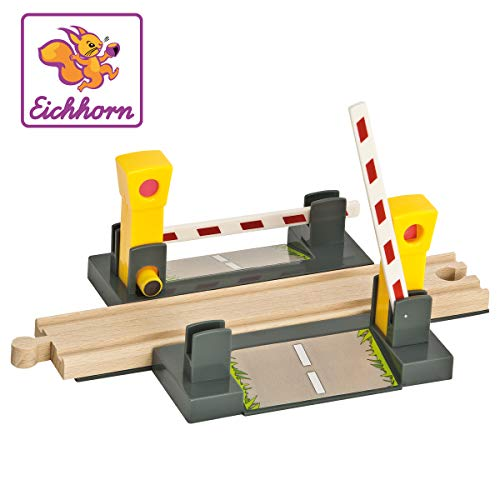Eichhorn Wooden Train Level Crossing (4 Piece), Brown