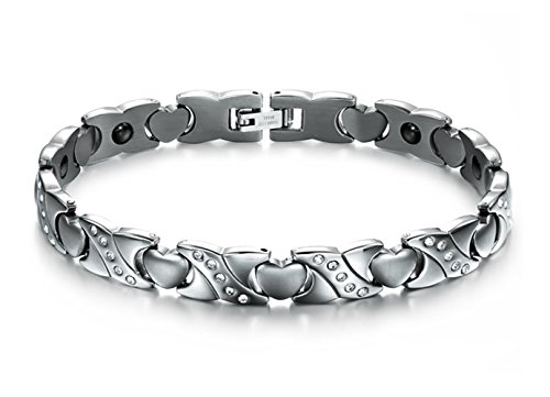 Titanium Steel Magnetic Therapy Bracelet Heart Hollow Hematite Balance Wristband for Women (AJT-OMK1-FBA)