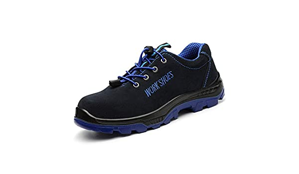 Hombre Calzado de Trabajo Zapatos de Seguridad Botas con Prueba de Pinchazo Antideslizante Puntera de Acero Senderismo Construcción Zapatillas Azul 42: ...