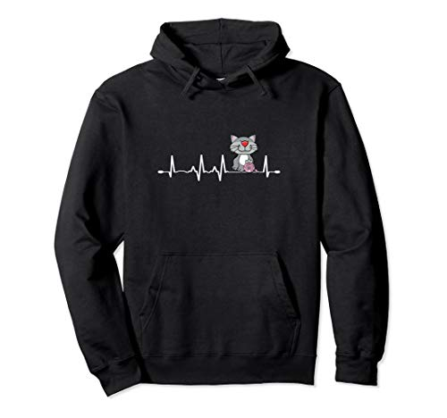 Love Cats & Knitting Heartbeat Design Crochet Knit Yarn Gift Pullover Hoodie