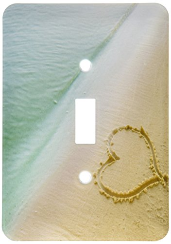 3dRose lsp_173299_1 Heart Shape Symbolizing Love, Heart Carved in Sand on The Beach Light Switch Cover]()
