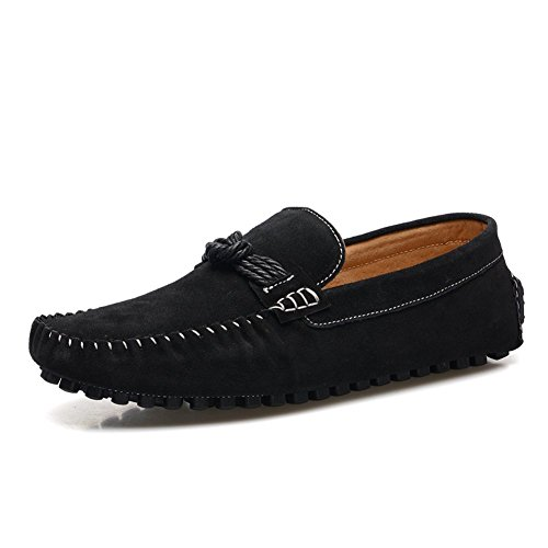 Enllerviid Herren Slip On Driving Mokassins Schwarz Wildleder Loafer Schuhe EU44