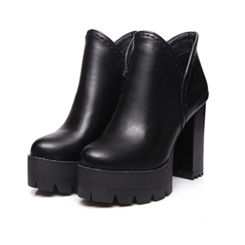 Toe Women's High Ankle High Solid Closed Boots Allhqfashion Heels Zipper Black Round w04dSE0xq