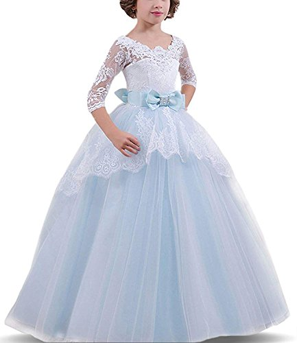 Rizoo Girls Vintage Floral Lace Maxi Evening Prom Dresses with Sleeves Pageant Ball Gown Birthday Party Dress up (4T, Sky -