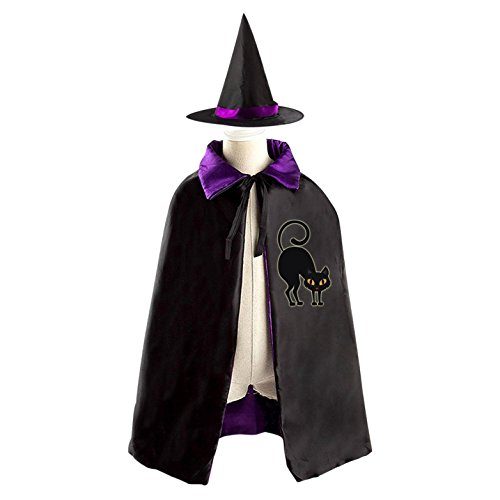 Scaredy Black Cat Reversible Halloween Costume Witch Cape Cloak Kid's (Homemade Kids Catwoman Costume)