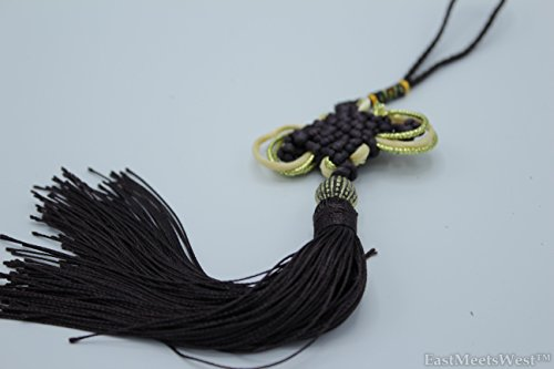 (Oriental Chinese Hand Made Mystic Knots Tassels Hanging Charm Feng Shui Protection Protection (Black) )
