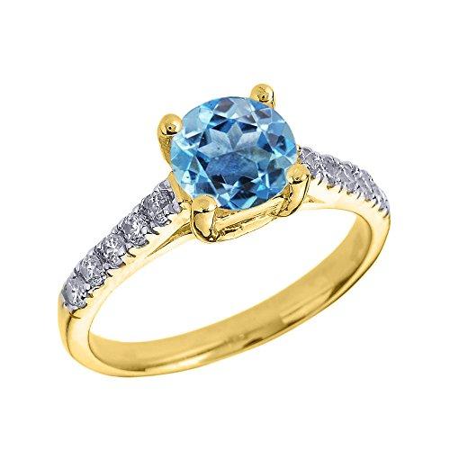 Bague Femme/ Bague De Fiançailles 14 Ct Or Jaune Diamant Et Bleu Topaze Solitaire