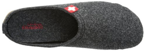 Living Kitzbühel Pantoffel Schweizer Kreuz mit Fußbett - Pantuflas de lana hombre gris - Grau (anthra 600)