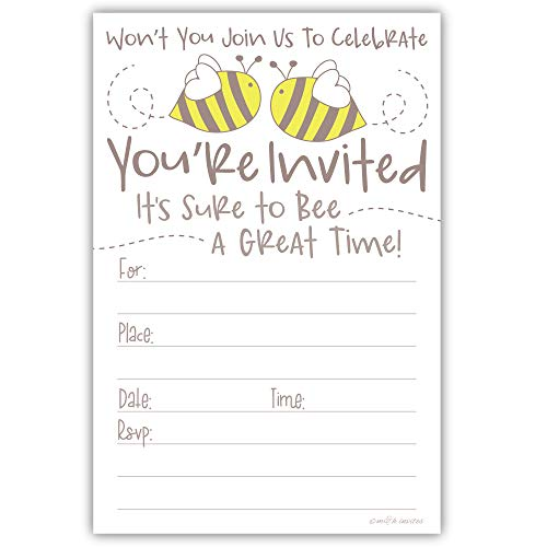 Cute Bumble Bee Invitations (20 Count) with Envelopes - Baby Shower or Birthday Party -