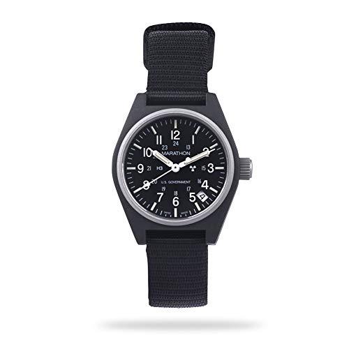 Marathon Watch WW194015-BK General Purpose Quartz Swiss Made Military Field Army Watch with Date (GPQ), Tritium, and Sapphire Crystal (34mm, Black)