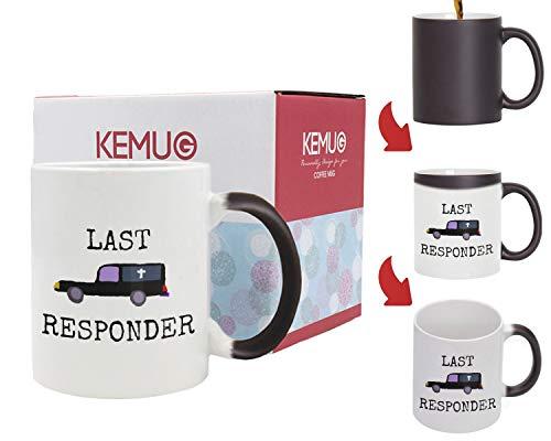 Kemug - Mortician Mug, Funeral Director Gift, Halloween Mug, Mortician gifts women, Last Responder, Hearse 11oz - Heat Color Changing Mug Black -