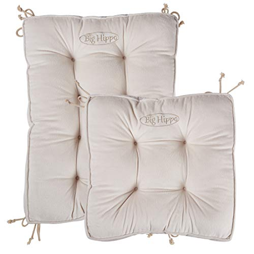Big Hippo Rocking Chair Cushions Set, Cotton Rocking Chair Pads with Ties Soft Thicken Seat Pads Cushion Pillow for Indoor, Outdoor, Office, Home, Rocking Chairs(Beige)