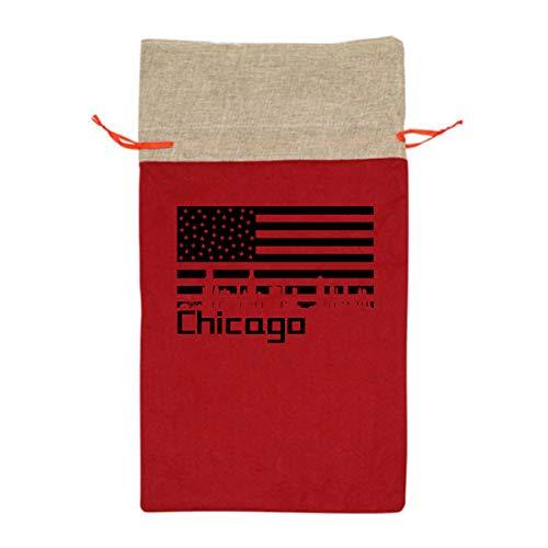 CYINO Personalized Santa Sack,Chicago City Silhouette US Flag Portable Christmas Drawstring Gift Bag 12.5
