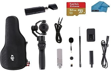 DJI OSMO Mobile Bundle – Handheld Stabilized Gimbal with 32GB Micro SD Card, Case, Wrist Strap and Micro Fiber Koozam Cloth Black