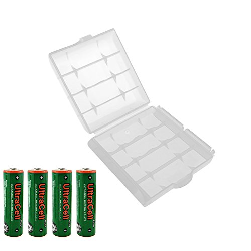 UltraCell Plus NiZn 1.6v AA - 2800mWh High Voltage Rechargeable Batteries With Battery Storage Box (Combo for 4pcs AA + 1pcs Clear Battery Box)