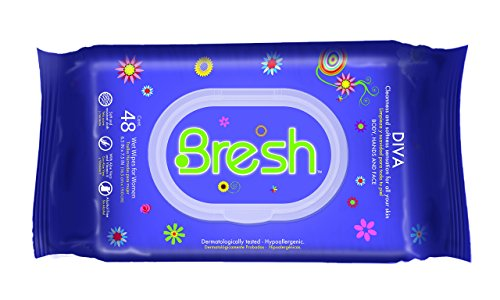 Body Wipes for Women by BRESH - Feminine Wipes - Hypoallergenic and pH Balanced Wet Wipes - Ideal after Sports, Traveling, Car, Purse, Toilet - Diva Fragrance. Keep your Body, Hands and Face fresh.