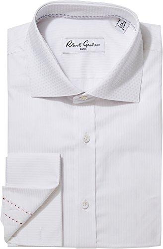 Woven Shirt Vertical Stripe (Robert Graham Men's Tux Vertical Stripe Dress Shirt White 17)