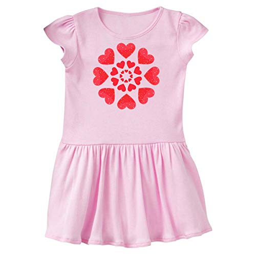 inktastic Hearts in a Circle- Valentines Day Toddler Dress 4T Ballerina Pink
