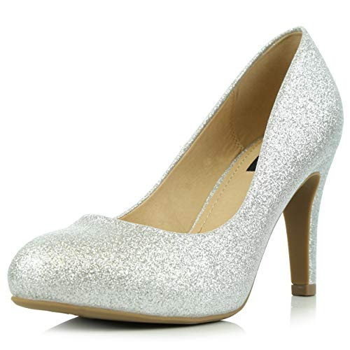 (DailyShoes Women's Comfortable Cushioned Slip On Low Heels Round Toe Dress Pumps Shoes, Silver Glitter, 5.5 B(M) US)