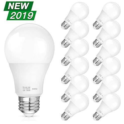 A19 LED Light Bulbs, 100-125W Equivalent LED Bulbs, 1500 Lumens Daylight White Edison Bulbs, E26 Medium Screw Base, No Flicker, CRI 80+, 25000+ Hours Lifespan, Non Dimmable, 12-Pack 100 Watt Medium Based Bulb