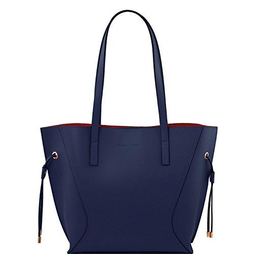 Tuscany Leather Nemesi - Bolso shopping en piel Ruga - TL141625 (Grey) Azul oscuro