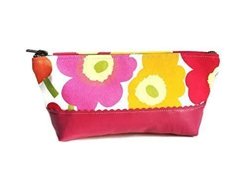Pink Poppy Small Leather Pouch, Women's Leather Clutch, Travel Toiletry Bag, Make up Bag, Cosmetic Bag