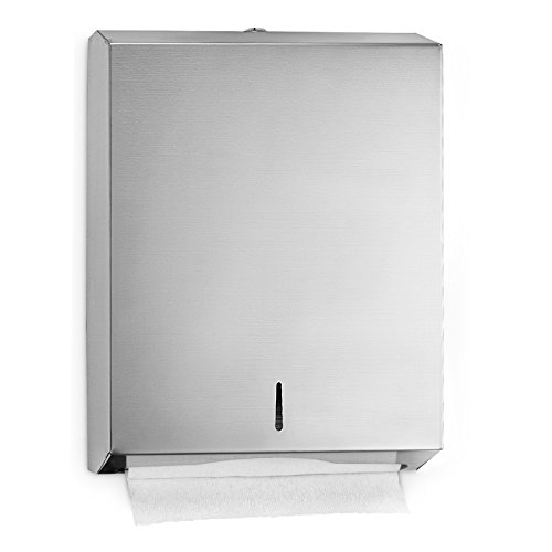 Alpine Industries C-Fold/Multifold Paper Towel Dispenser - Brushed Stainless Steel - Holds Up to 400 C-Fold Or 525 Multifold ()
