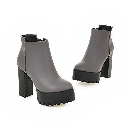 Chunky Zipper Boots Womens 1TO9 Imitated Platform Heels Gray Leather qxTnPC5H