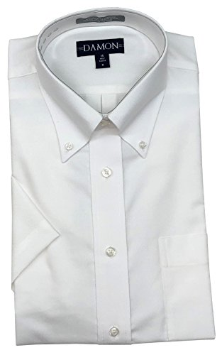 Enro/Damon University Oxford Button Down Collar Short Sleeve Dress Shirt (White, 16