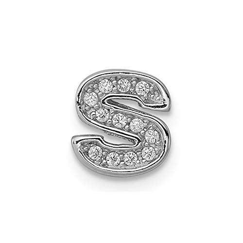 (925 Sterling Silver Cubic Zirconia Cz Letterslide Pendant Charm Necklace Slide Chain Initial Fine Jewelry Gifts For Women For)