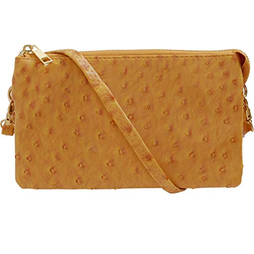 Humble Chic Vegan Leather Faux Ostrich Wristlet - Textured Dot Convertible Wallet Crossbody Bag Clutch Purse with Shoulder Strap, Mustard Yellow Ostrich, Bright Gold