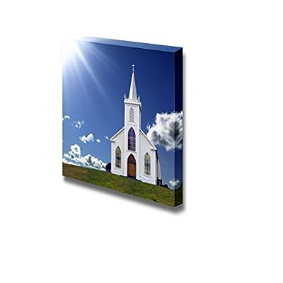 Beautiful Landscape Scenery Sun Rays Shining Down on a Small Christian Church on a Hill - Canvas Art Wall Art - 24