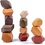 Wooden Building Blocks Set Lightweight Natural Balancing Blocks Colored Wooden Stones Stacking Game Rock Block