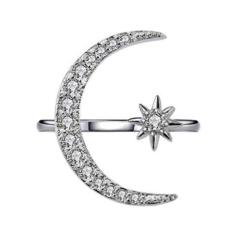 nanzhushangmao 925 Sterling Silver Cz Moon Star Open Ring for Women Artificial Diamond Inlay Engagement - Silver Zodiac Bands