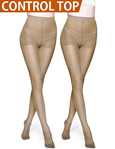 Pantyhose Spandex Opaque (Vero Monte 2 Pairs Control Top Pantyhose for Women - Semi Opaque Tights (Nude))