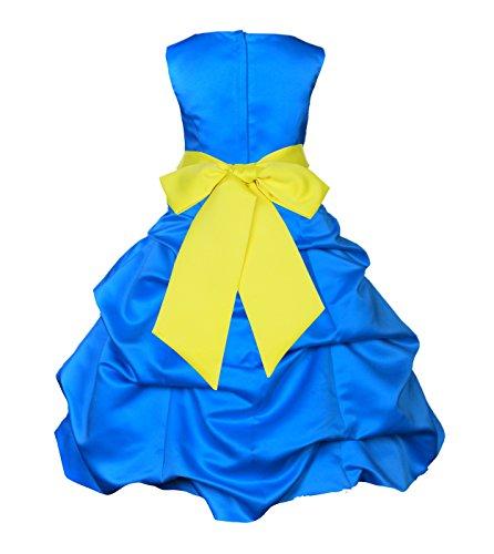 ekidsbridal Royal Blue Satin Pick-Up Bubble Flower Girl Dress Ball Gown 806S (Pickup Ball Gown)