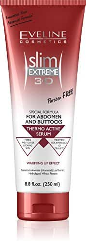 Eveline Slim Extreme 3D Thermo Active Cellulite Cream Hot Serum Treatment for Shaping Waist, Abdomen and Buttocks,