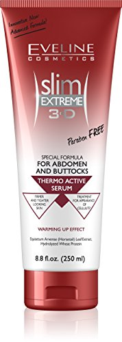 Eveline Slim Extreme three-D Thermo Active Cellulite Cream Hot Serum Treatment for Shaping Waist, Abdomen and Buttocks,