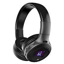 Bluetooth Headset, ELEGIANT Multifunction Bluetooth 4.0 Wireless StereoRechargeable Headphones with Digital Display Mic/FM Radio/TF SD Card Slot/3.5mm Audio AUX Compatible with all Bluetooth devices Black