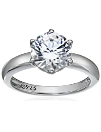 Platinum Plated Sterling Silver Solitaire Ring set with Round Swarovski Zirconia (2 cttw), Size 5