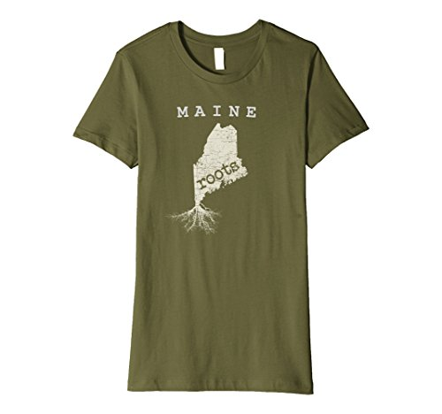 Womens Maine Roots T Shirt  Home Native State Pride Tee Medium Olive