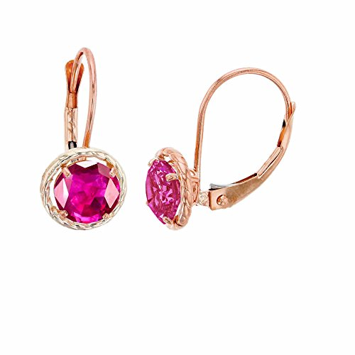 10K Rose Gold 6mm Round Glass Filled Ruby Center Stone Rope Frame Leverback Earring